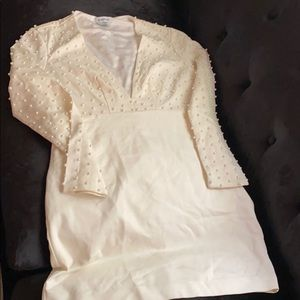 Cream BeBe Dress with Pearls